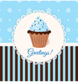 Vintage greetings card with cream cake vector image