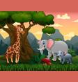 wild animals cartoon under big tree vector image vector image