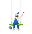 window washer cleaning vector image