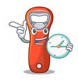 with clock aluminium bottle opener for design vector image