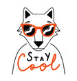 with doodle style outline fox in red sunglasses vector image vector image