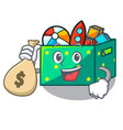 with money bawith money bag g character wooden box vector image