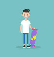 young bearded citizen holding his long board vector image