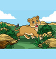 young lion walking in jungle vector image vector image