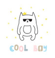 cool boy cute hand drawn postcard with funny cat vector image