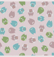 seamless cute cartoon owls birds pattern vector image