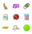 Dog care icons set cartoon style vector image