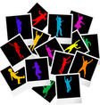 A pile of photo frames with children silhouettes vector image vector image