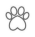 animals dogs paw print with heart vector image