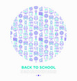 back to school concept in circle with line icons vector image vector image