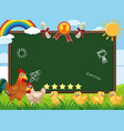 banner template with chickens walking in farm vector image vector image