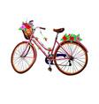 Bike flower and basket vector image vector image