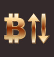 bitcoin golden sign and arrows up and down vector image