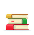 books stack or pile paper book stacked flat vector image
