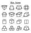 box icon set in thin line style vector image vector image