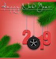 car wheell and 2019 on a christmas tree branch vector image