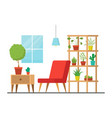 cartoon room with furniture and plants vector image vector image