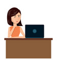cartoon woman laptop desk e-commerce isolated vector image vector image