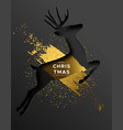christmas new year card gold papercut reindeer vector image vector image