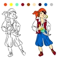 Coloring book kids play Pirate vector image