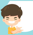 cute boy pointing pose vector image vector image