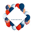 emblem with balloons helium and usa flag vector image vector image