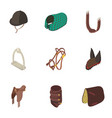 equestrian icons set isometric style vector image vector image