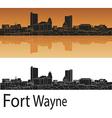 Fort Wayne skyline in orange background vector image vector image