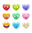 funny cartoon colorful glossy heart characters vector image vector image