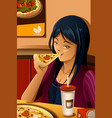 girl eating pizza vector image