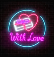 glowing neon gift with love and heart shape in vector image