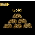 Gold glitter icon of gold bullions isolated vector image