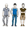 handsome men group standing wearing casual vector image vector image