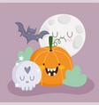 happy halloween pumpkin skull bat and moon vector image