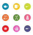 home kitchen set icons set flat style vector image vector image