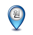 korean won local symbol on mapping marker vector image vector image
