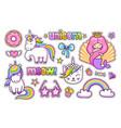 magic unicorn cat cute mermaid rainbow donut vector image vector image