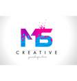 ms m s letter logo with shattered broken blue vector image
