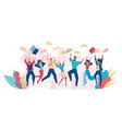office fun happy office workers jumping up vector image vector image