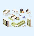 office furniture isometric chairs tables desks vector image vector image