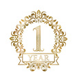 One year anniversary celebration golden vintage vector image vector image