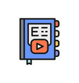 online e-book e-learning flat color line icon vector image