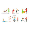 people doing sports in gym with equipment vector image vector image