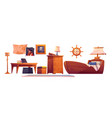 pirate baroom interior set thematic furniture vector image vector image