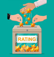 rating box and hand with golden star vector image vector image