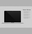 realistic open laptop with blank screen isolated vector image