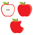 Red apple set vector image vector image