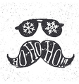 Santa vintage sunglasses and moustache With vector image vector image