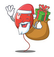 santa with gift balloon character cartoon style vector image