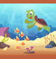 sea underwater background with cartoon turtle vector image vector image
